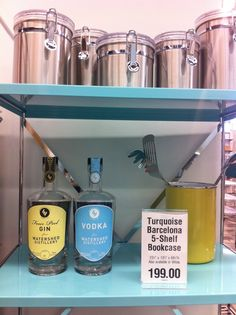 Our Vodka and Four Peel Gin bottles spotted at The Container Store #containyourself