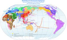 Dominant Y-chromosome haplogroups in pre-colonial world populations, with possible migrations routes according to the Coastal Migration Model.