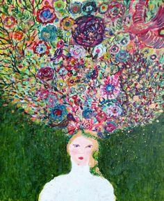 Arbre enchanté - enchanted tree - Original Painting on canvas de la boutique ValerieBelmokhtarArt sur Etsy