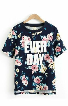 Flowers Printing High-low Hem Casual T-shirt