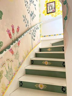 French Artist Nathalie Lete Is Painting Her Home Full of Flowers - - While sheltering in place, French artist Nathalie Lete is filling her country home with flowers—that she paints on every surface. Interior And Exterior, Interior Design, Interior Architecture, Interior Colors, Interior Modern, Hand Painted Walls, Painted Stairs, Painted Doors, French Artists