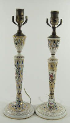 Pair of Carl Thieme Dresden Porcelain Candlestick Lamps