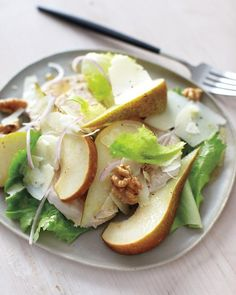 Poached chicken, pear and walnut salad