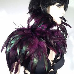 Purple Feather Epaulettes Shoulder Pads, Evening Wear Accessories Carnival Glamour Burning Man Burlesque I REPENT! on Etsy, $50.00