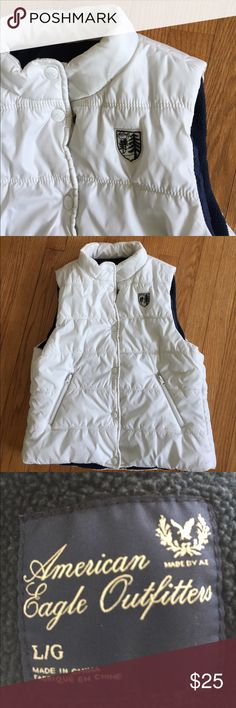 AEO puffer vest.   ⛄️ Warm puffer vest by AEO, zip pockets, in great condition.  Size is large, but runs small. American Eagle Outfitters Jackets & Coats Vests