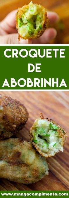 Zucchini Croquette Recipe - A delicious snack for the weekend with . Croquettes Recipe, Wedding Appetizers, Pasta, Appetisers, Yummy Snacks, Vegetarian Recipes, Food And Drink, Veggies, Low Carb