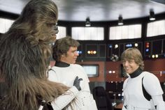 Peter Mayhew, Harrison Ford and Mark Hamill on the Death Star set.