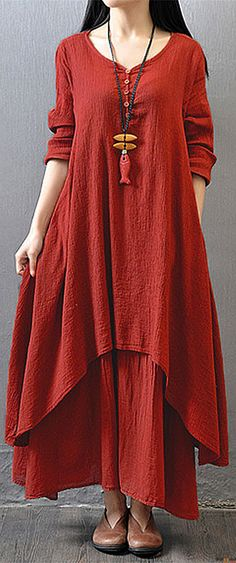 US$25.99+ Free shipping. Size: S~5XL. Color: Red, White, Yellow, Brown, Black. Loving this Vintage maxi dress. Gracila Women V-neck Long Sleeve Double Layers Button Asymmetric Vintage Maxi Dresses. Shop at banggood with affordable price.  #women #dress#outwear#2018
