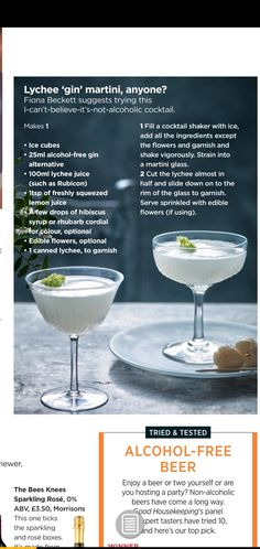 Alcohol Free Gin, Alcoholic Cocktails, Drinks, Lychee Juice, Juice 2, Cocktail Making, Drink Recipes, Martini, Canning
