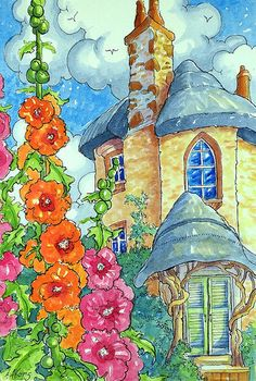 """Daily Paintworks - """"The Hollyhock Tower Storybook Cottage Series"""" - Original Fine Art for Sale - © Alida Akers Storybook Cottage, Cottage Art, Cute Cottage, Watercolor Illustration, Watercolor Art, Pintura Country, Hollyhock, Arte Popular, Whimsical Art"""
