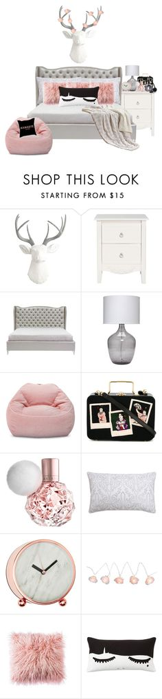 """rose gold grey room"" by annieanne-tumblr13 ❤ liked on Polyvore featuring interior, interiors, interior design, home, home decor, interior decorating, White Faux Taxidermy, Jamie Young, Pillowfort and Olympia Le-Tan"