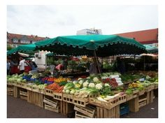 The Markplatz where you can find the freshest produce,  German farmers market.