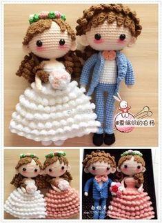 a sample image Cute Crochet, Crochet Toys, Baby Door Hangers, Crochet Sunflower, Crochet Dolls Free Patterns, Wedding Doll, Crochet Wedding, Crochet Diagram, Knitted Dolls