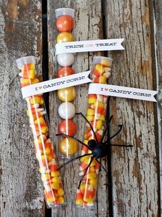 Trick-or-Treat Tubes    These clear tubes are turning up at parties everywhere not only because they're adorable, but because they're so easy! Just fill with candy or gumballs and top with a printable Halloween flag design.