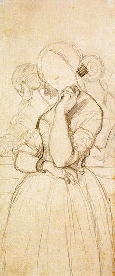 Study for the Portrait of Vicomtesse Louise-Albertine dHaussonville 1, Drawing by Jean Auguste Dominique Ingres (1780-1867, France)