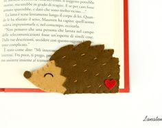 HEDGEHOG felt bookmark, corner bookmark, brown and red, handmade bookmark, animal bookmark, porcupine felt