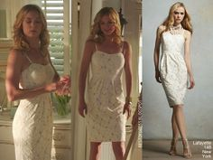 Emily Thorne in a lacy white Lafayette 148 New York dress on Revenge's 1x06 episode 'Intrigue'  source: my blog bestofdress.blogspot.ca