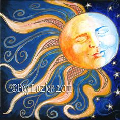 Sun and Moon  10x10 print by PeggithasPieces on Etsy, $28.00
