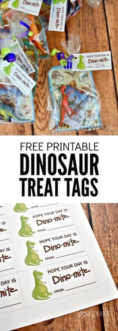 These free printable T-rex tags are so cute! They would be great to use on dinosaur party favors for a child's birthday party or even as cards for a Valentine's Day party at school.