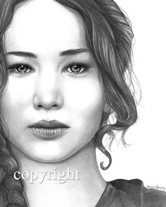 Jennifer Lawrence, Katniss Everdeen, The Hunger Games, Pencil Drawing, Portrait, 8x10 Art Print, by Wendy Hogue Berry.