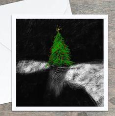 Carte de souhaits des Fêtes, Noël, sapin vert. Dessin original. 5,25 x 5,25, intérieur blanc. Carton satiné, qualité. Enveloppe comprise. Frame It, Custom Cards, Famous Artists, My Drawings, I Card, Greeting Cards, Etsy, Graphic Design, The Originals
