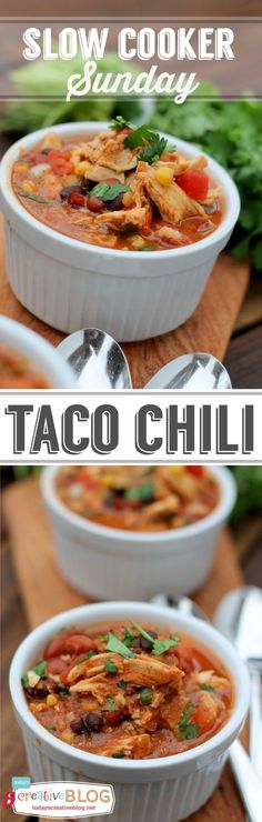 Slow Cooker Taco Chili  Recipe | See more slow cooker recipes on TodaysCreativeLife.com