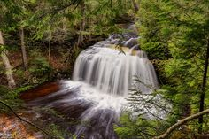 Above average flow in the rivers this year. If your looking an adventurous deep forest hike,… Travel Bugs, Us Travel, Michigan Waterfalls, Waterfall Photo, State Of Michigan, Deep Forest, Upper Peninsula, Framed Art Prints, Wilderness