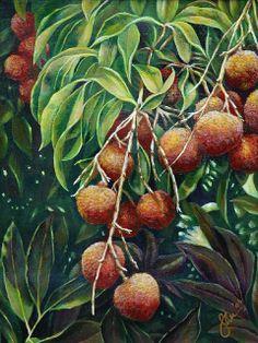 """""""Lychee"""" Painting by Sandra Blazel from Cedar Street Galleries, Honolulu"""