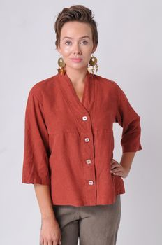 Paprika Tuxedo top by Sympatico Clothing of a hemp, Tencel blend.