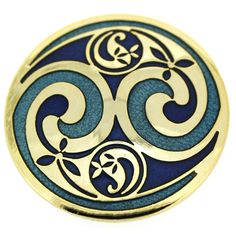 Gold & Round Green & Blue Enamel Swirl Brooch
