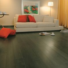 english maple--earl grey floors more unique and softer than the ubiquitous ebony Grey Floorboards, Grey Wood Floors, Grey Flooring, Maple Hardwood Floors, Grey Hardwood, Living Room And Dining Room Design, Home Living Room, Floors And More, Front Rooms