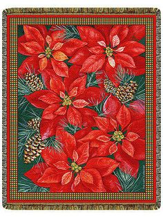 68x48 POINSETTIA Christmas Holiday Floral Tapestry Afghan Throw Blanket