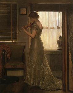 The Violinist (Joseph DeCamp - circa 1902). Painting of a woman playing a violin.