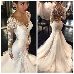 f7553425fec New 2017 Gorgeous Lace Mermaid Wedding Dresses Dubai African Arabic Style  Petite Long Sleeves Natural Slin Fishtail Bridal Gowns Plus Size Wedding  Dress ...