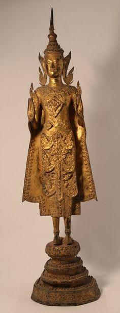 Thailand Rattanakosin Dynasty standing bronze Buddha (item #1298196, detailed views)