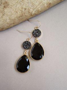 Druzy Earrings - Druzy - Drusy Quartz - Black Onyx Teardrops - 14K Gold Fill Bezel Set