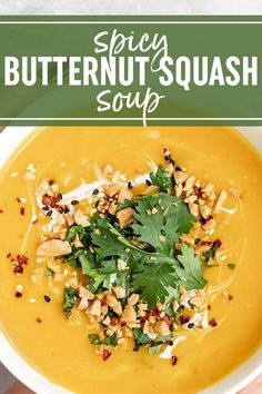 Spicy Thai Butternut Squash Soup made with roasted butternut squash, onion, garlic, ginger, cayenne pepper, and red curry paste. Easy, healthy, vegan, gluten-free recipe. #butternut #soup #spicy #vegan #healthy #cleaneating #easyrecipes #healthyrecipes #healthyeating #fall #recipe #dinner #lunch