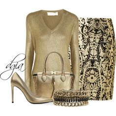 All gold, created by dgia on Polyvore