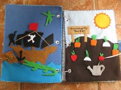 Felt Activity Book - Peter Pan/Hook Pirate Ship and Garden w/ watering can