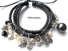 Gorgeous Leather Bracelet with Swarovski Crystals and Pearls and Silver Charms £25 www.alliehandmadeoriginaljewellery.co.uk x