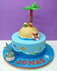 Shark and beach birthday by LovelyCakes.net, via Flickr