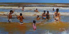 """""""The Beach,"""" figurative painting by artist Marco Ortolan (Argentina) available at Saatchi Art #SaatchiArt"""