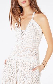 2016 Christel Floral Lace White BCBG Evening Gown Cold Shoulder Wedding  Dress a5473b89ab