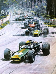 Giclee Print: 1967 French Grand Prix Art Print by Graham Coton by Graham Coton : Australian Grand Prix, Garage Art, Automotive Art, Automotive Engineering, Car Drawings, Vintage Racing, Vintage Cars, Car Painting, Cars