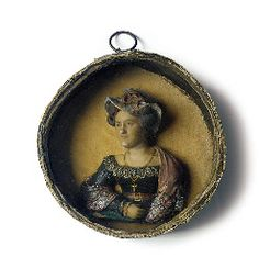 A COLOURED WAX PORTRAIT RELIEF OF A LADY