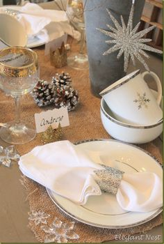 DIY using toilet paper rolls to create a napkin ring/placecard holder - adorable