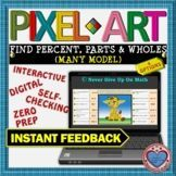 PIXEL ART: Find Percent, Parts, & Wholes DISTANCE LEARNING Interactive Activities, Math Activities, Teacher Resources, Math Stations, Math Centers, 12th Maths, Standard Form, Secondary Math, Fun Math