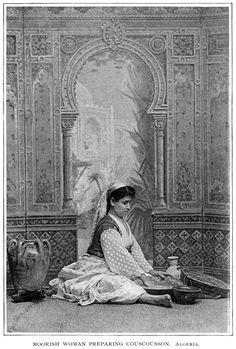 Moorish Woman Preparing Couscousson. Algeria.