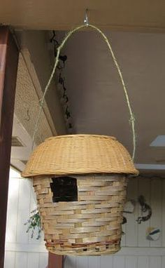 I WANT TO MAKE THIS: 20 BIRDHOUSES CREATED FROM UNUSUAL OBJECTS. Almost all of us have these cheap baskets around the house or can pick them up for under a dollar. #birdhouseideas