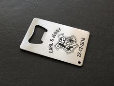 Personalized stainless steel opener, custom bottle opener, beer opener, credit card opener, custom engraved opener by YouCanMAKEitPERSONAL on Etsy